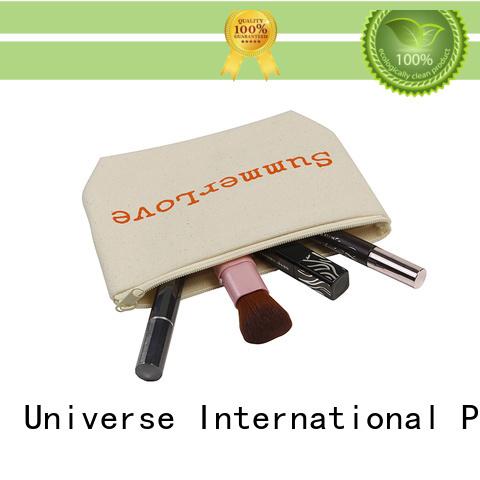 Printed Logo Natural Cotton Canvas Cosmetic Makeup Zipper Bag