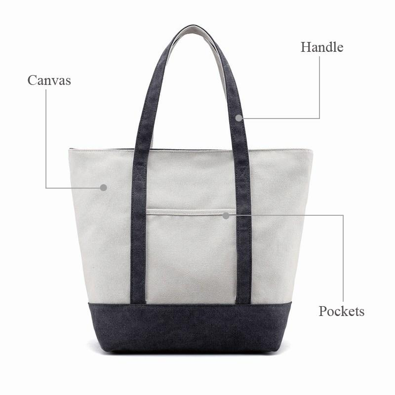 Yonghuajie blank canvas tote bags with zipper striped for cosmetic-2