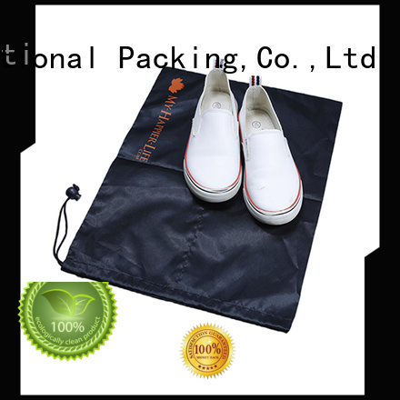 Black Nylon Shoe Bag with drawstring
