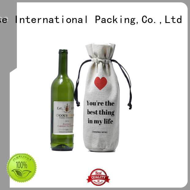 package bottle natural Yonghuajie Brand linen pouch                                                                                                                                                                                               linen drawstr