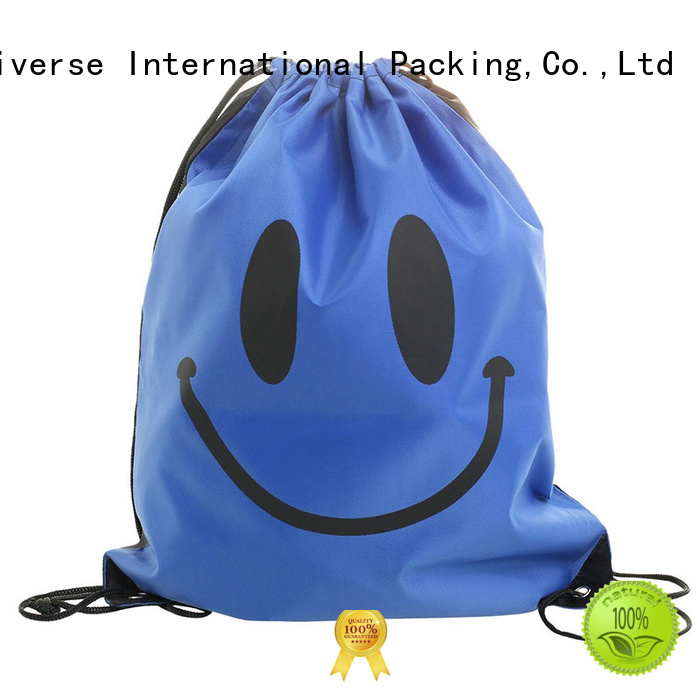 Wholesale nylon vs polyester backpack drawstring with zipper for storage