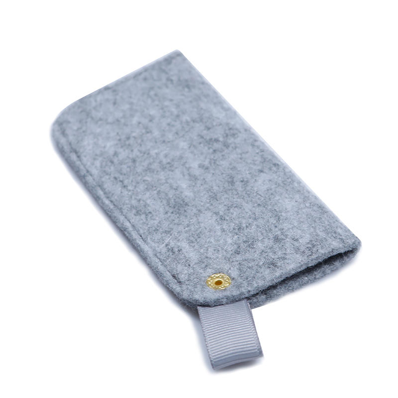 Small felt bag for power bank packaging with small handle and button close-3