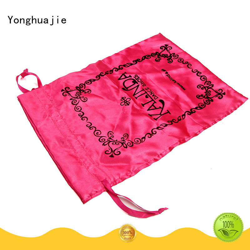 silk printing satin drawstring bags with zipper for packing