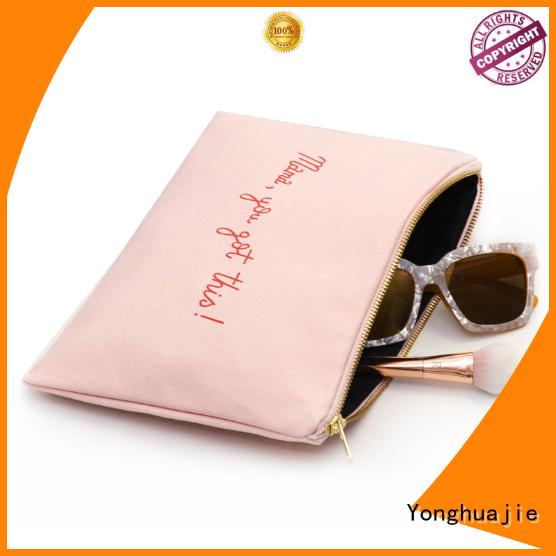 Beautiful Pink Cotton Canvas Cosmetic Zipper Bag