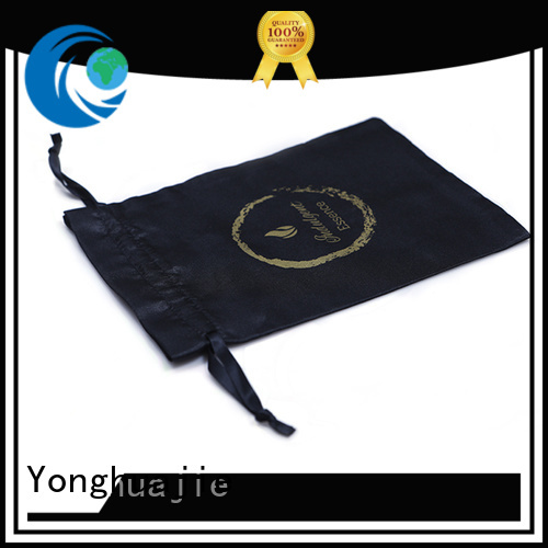 logo printed satin bags with handle for shopping Yonghuajie