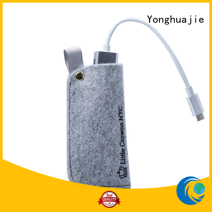 Small felt bag for power bank packaging with small handle and button close
