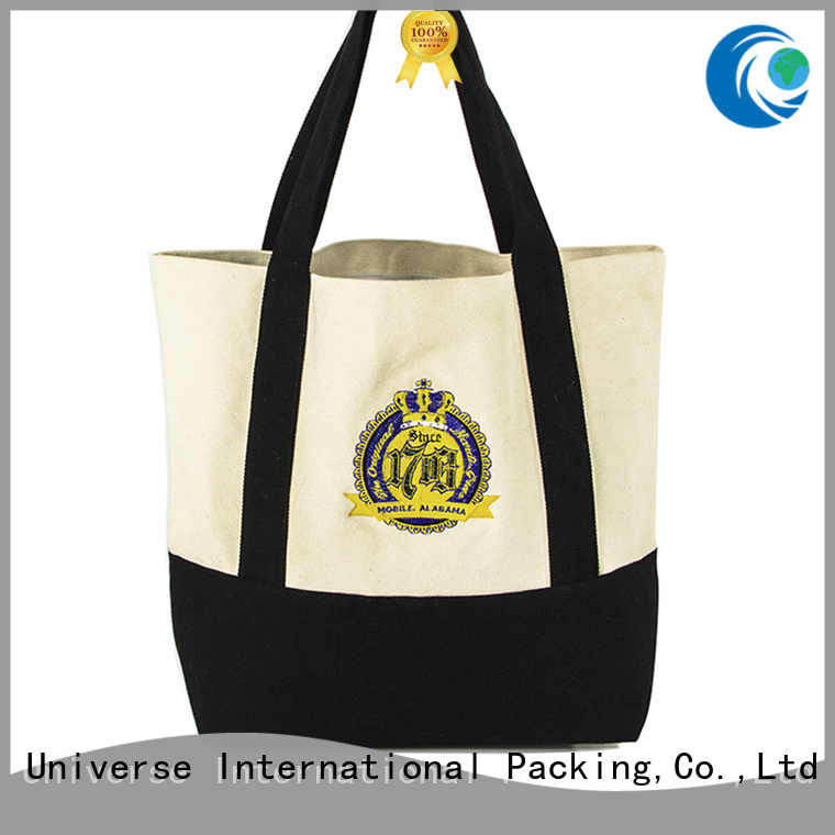 order striped canvas tote bag with zipper for cosmetic