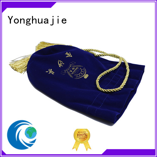 Yonghuajie round black velvet bag purple for jewelry shop
