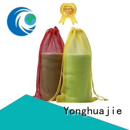 Yonghuajie logo mesh drawstring bags at sale for gift