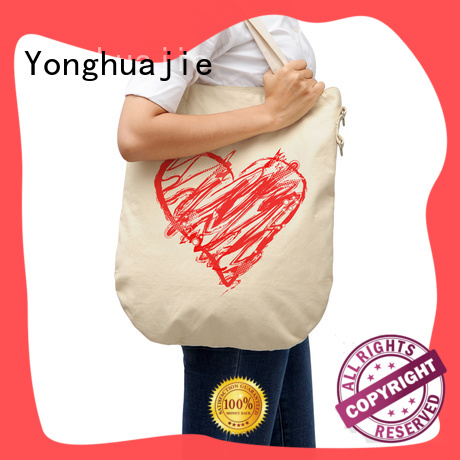 natural designer canvas tote bags with zipper for cosmetic