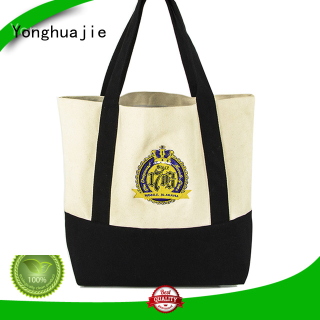 Yonghuajie custom size canvas tote bags with zipper pvc for packaging