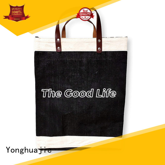 Yonghuajie bamboo handle small jute bags for business for packing