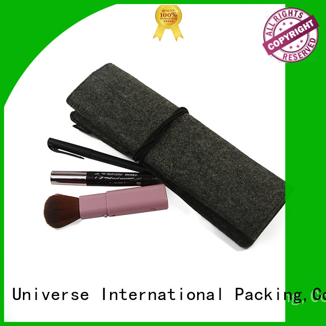 Rolled Felt Cosmetic Makeup Bag With String Closure