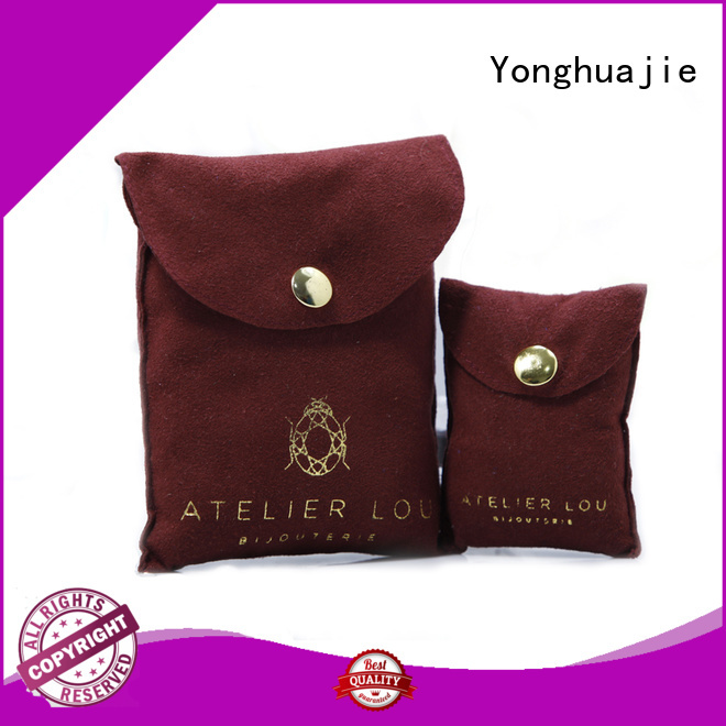 envelope logo stamping Yonghuajie Brand grey suede bag                                                                                                                                                                 suede jewelry pouch