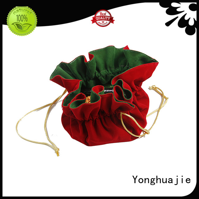 velvet jewelry bag printed logo for jewelry shop Yonghuajie